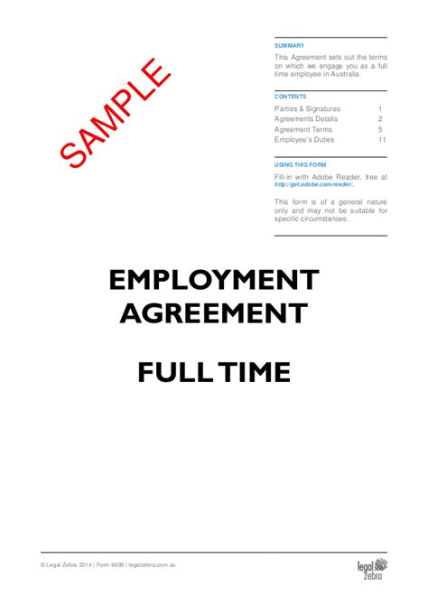 full time employment agreement template sle