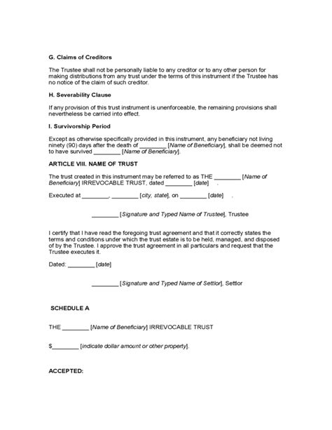 Special Needs Trust Template Free Download Special Needs Trust Template