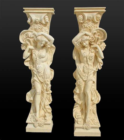 marble pillars stone columns roman style and greek caps