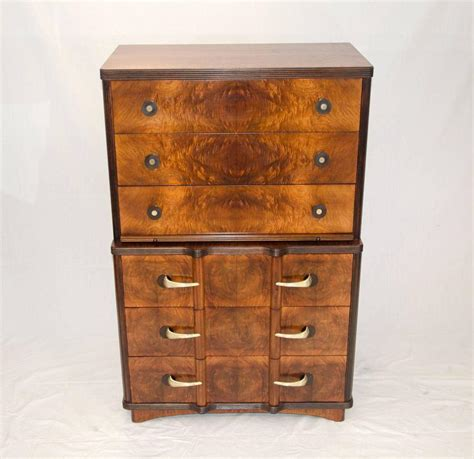 Deco Dresser by Deco Highboy Dresser Or Chest In Burl Walnut At 1stdibs