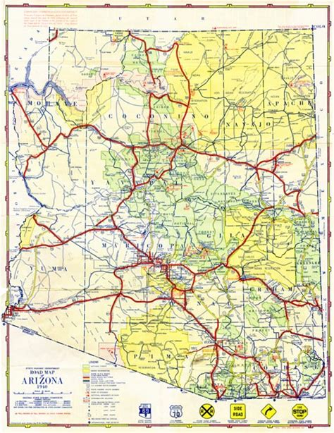 arizona county map with roads map 810 1940 road map of arizona 1940