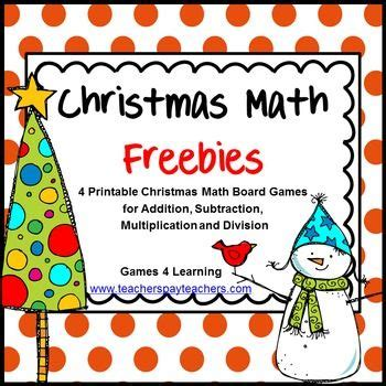 printable math board games for 6th grade christmas math freebie by games 4 learning contains 4