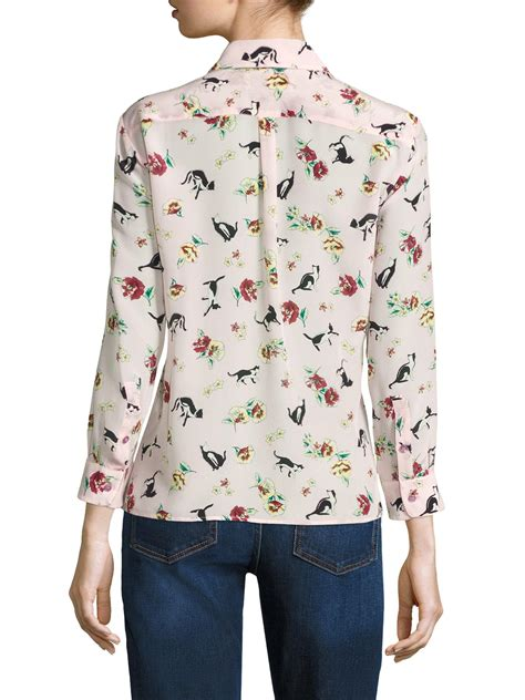Flower Maxmara Pink Square Kerudung Maxmara lyst weekend by maxmara aeroso cat print silk blouse in pink