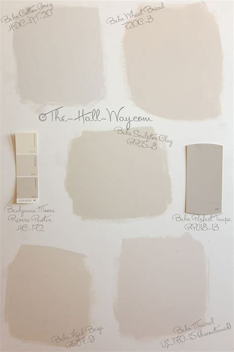 paint color options behr cotton grey wheat bread sculptor clay aged beige and mineral shown