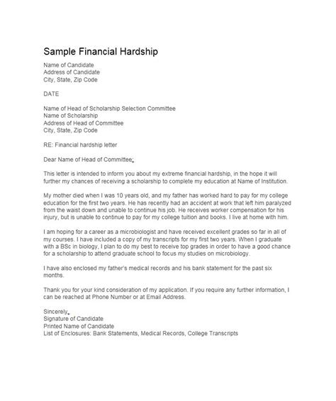 College Hardship Letter 35 Simple Hardship Letters Financial For Mortgage For Immigration