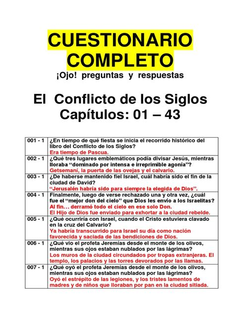 la historia de la iglesia preguntas y respuestas el conflicto de los siglos preguntas y respuestas 771