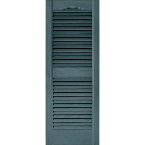 Louvered Doors Exterior Builders Edge 15 In X 39 In Louvered Vinyl Exterior Shutters Pair In 004 Wedgewood Blue