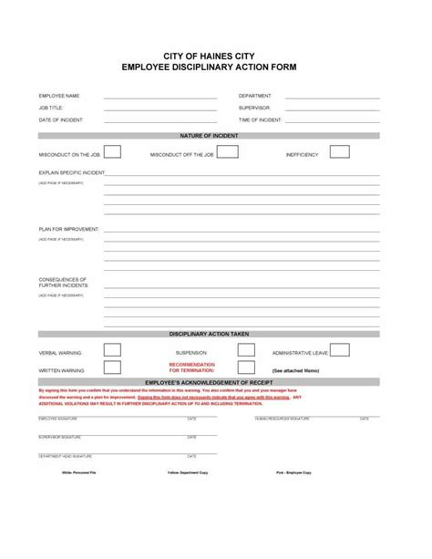 46 effective employee write up forms disciplinary action with form
