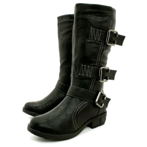 womens black leather style biker multi buckle knee boots