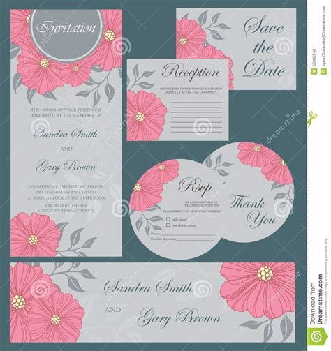wedding sts for card wedding invitation cards set stock vector image 55805548