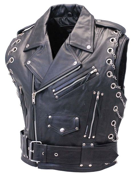 Chromed Out Leather Motorcycle Vest With Chains From Jamin