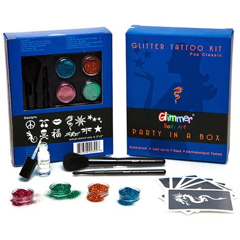 tattoo kit walmart glimmer art party in a box classic walmart com