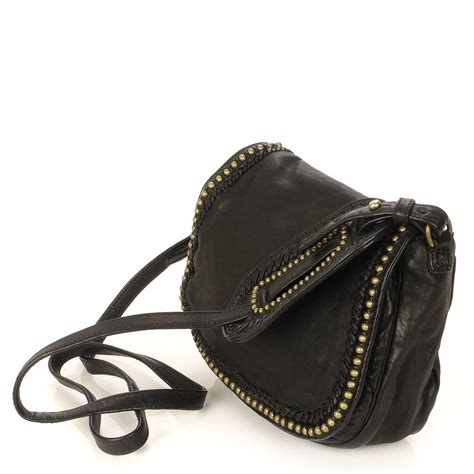 Small Black Leather by Bonnie Small Black Leather Cross Bag