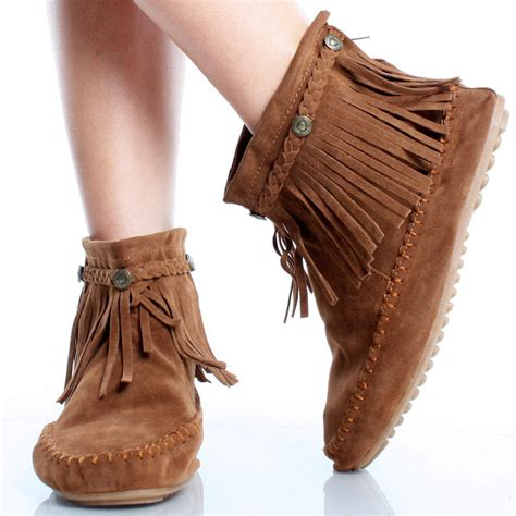 brown suede tribal braided fringe moccasin ankle