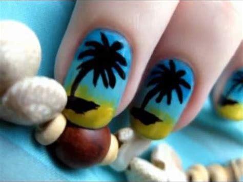 easy nail art palm tree palm tree nail art youtube