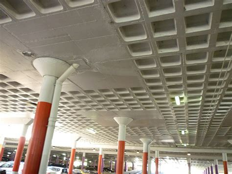 Senter Polisi Senter Parkir 30cm waffle slab soffit of original 1977 city car park