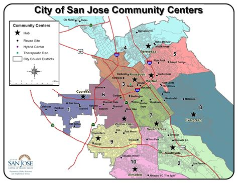 san jose map of neighborhoods shows the center big