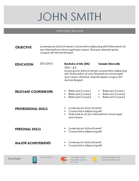 Resume Objective For Internship by Internship Resume Template