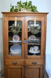 How To Decorate A China Cabinet Christmas Decorating Antique China Cabinet