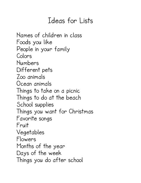 english themes to write about making lists kindergarten nana