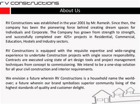 design and construction company profile sle rv constructions construction infrastructure