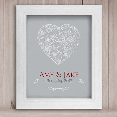 personalised wedding heart print canvas
