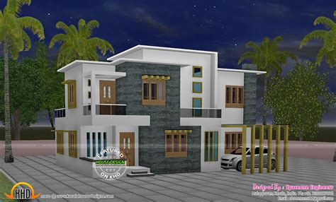 home design for 4 room flat 4 bedroom flat roof style house 2200 sq ft kerala home