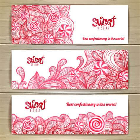 design banner sweet 17 sweet dessert banners vectors set free vector in