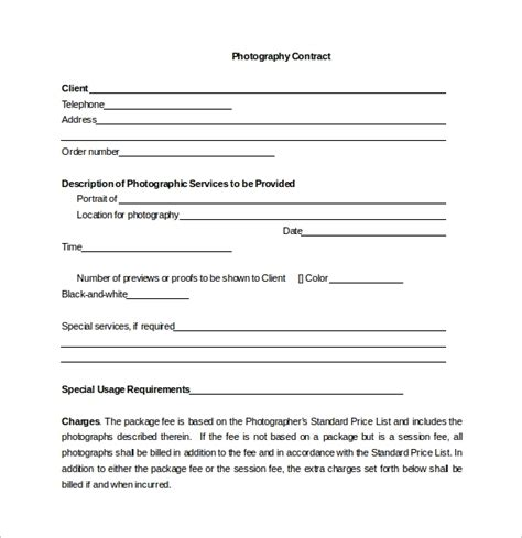 13 Photography Contract Templates Pdf Word Pages Sle Templates Photography Contract Template Free
