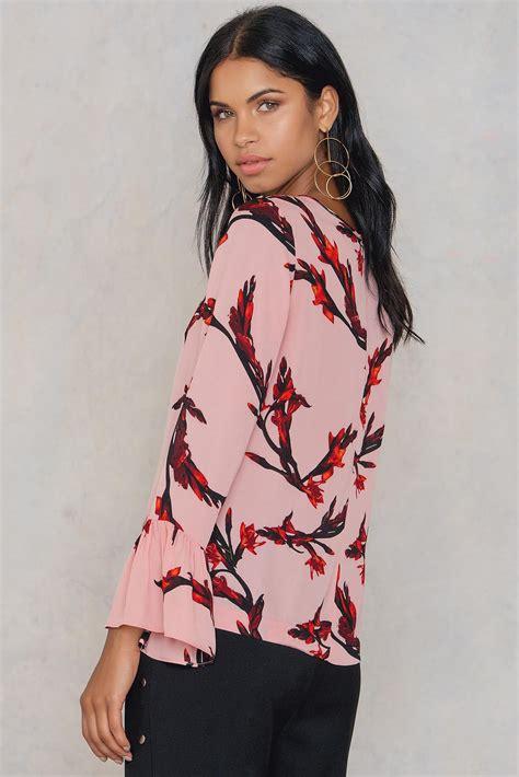 Blouse Polos Serena lyst sams 248 e sams 248 e serena ls aop blouse in pink