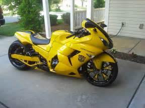 kawasaki zzr 1400 custom yellow camaro   custom motorcycles