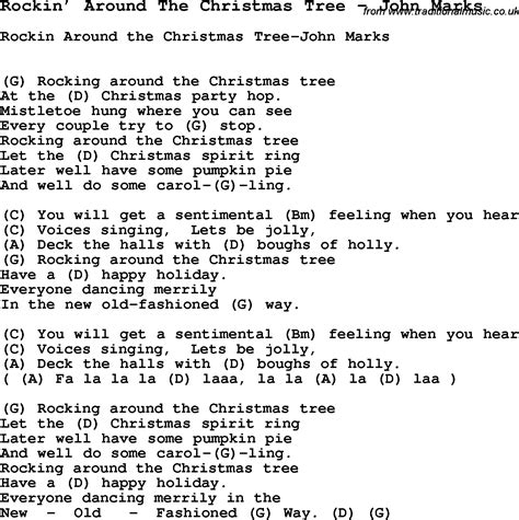 printable lyrics chords song rockin around the christmas tree by john marks with