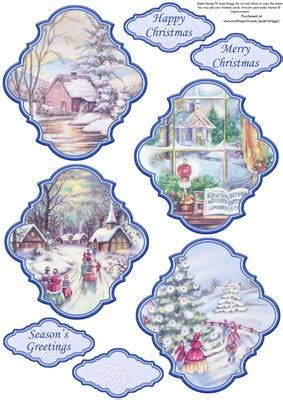 christmas toppers vintage toppers traditional scenes blue cup craftsuprint