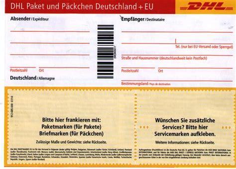 Paketschein Drucken Unfrei by Kann Ich Mit Diesen Dhl Zettel Nach Austria Ein Paket