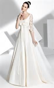 Half sleeve zipper satin empire waist a line wedding dresses fwd0502