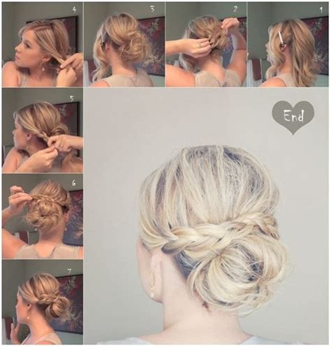 holiday braided updo tutorial medium hairstyle for long hair 10 trendy messy braid bun updos popular haircuts