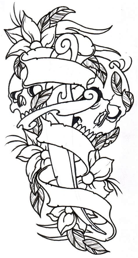 free tattoo outline designs dagger skulls flowers outline by vikingtattoo on deviantart