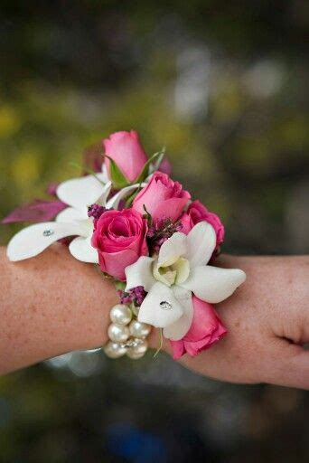 trendy corsages white orchids and pink spray rose wrist corsage on pearls