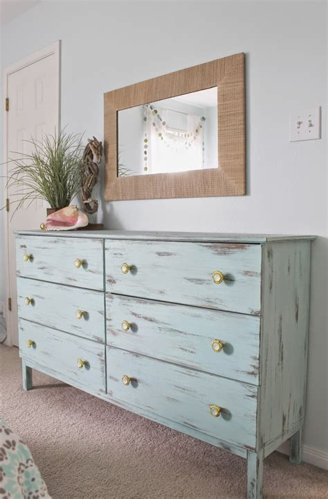 Beach Themed Bedroom Aqua Painted Unfinished Dresser From Beachy Bedroom Furniture