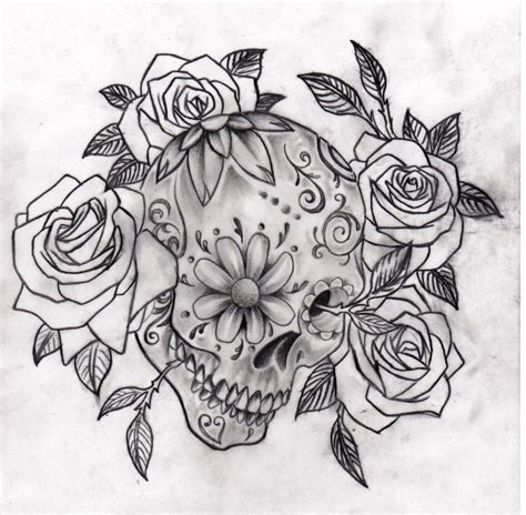 sugar skull and rose tattoos me skulls bones etc on