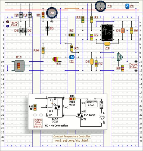 breadboard circuit simulation j s steady temperature thermostat breadboard layout