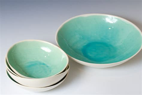 modern bowl turquoise and white ceramic bowl set by vitreouswares
