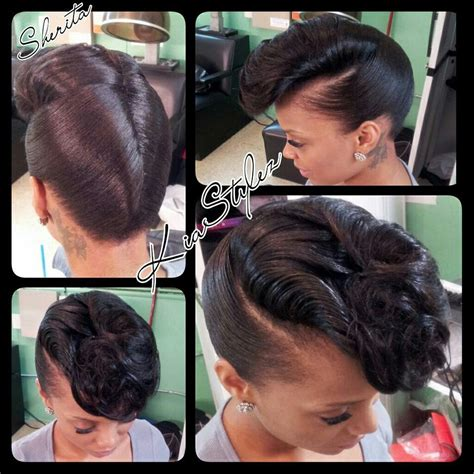 pin up styles for long weaves retro updo hairstyle for black women