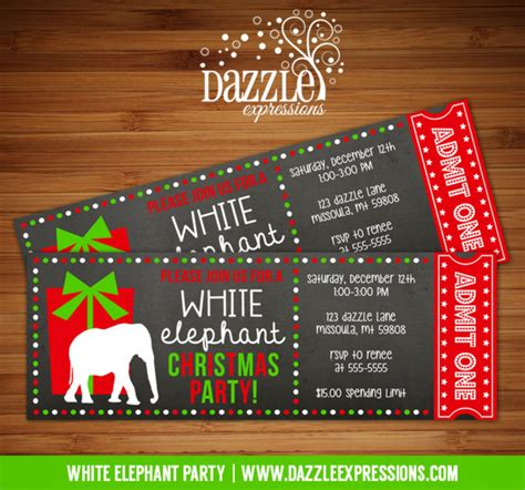 printable white elephant party chalkboard ticket