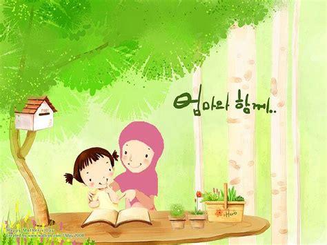 happy muslim family 3 gambar kartun muslim ibu dan anak rumah zakat