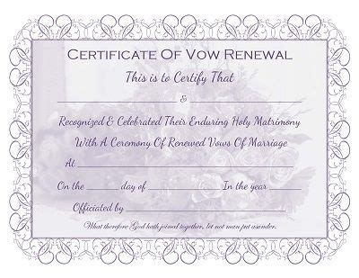 vow card template marriage vow renewal certificate free printable all