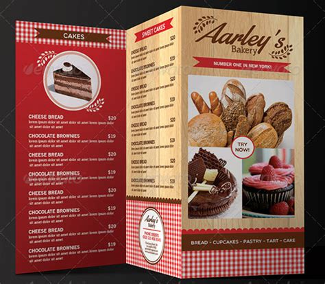 trifold menu template 27 bakery menu templates free sle exle format