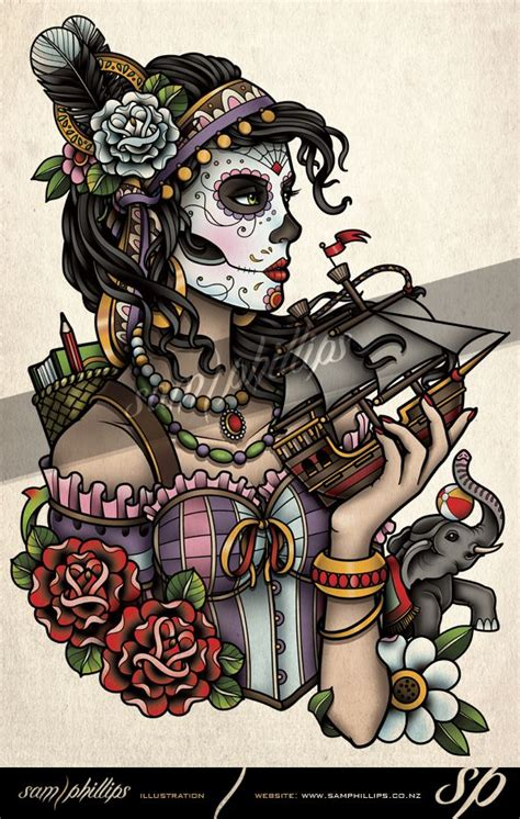 sam phillips tattoo designs day of the dead rib by sam phillips nz on