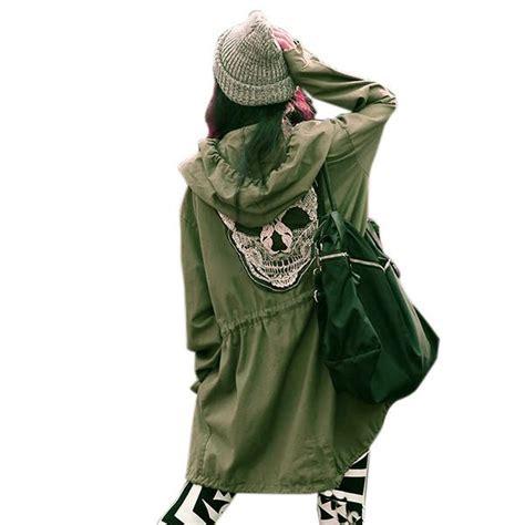 Jaket Longskull skull print winter hooded coat outwear parka