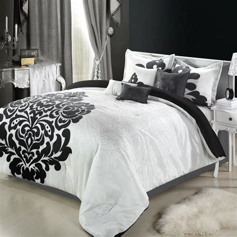 lakhani white black silver 8 king comforter bed in